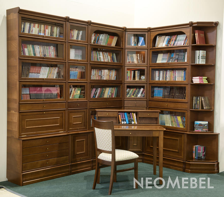 Купить мебель для библиотеки и домашнего кабинета из натурал.